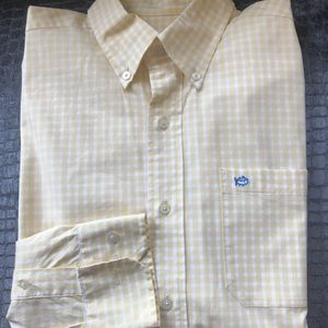 Southern Tide yellow gingham shirt